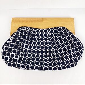 Old Navy Circle Pattern Wood Handle Clutch